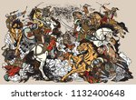 battle between mongols clans... | Shutterstock .eps vector #1132400648