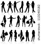 set silhouettes girls with bag  ... | Shutterstock . vector #113240182