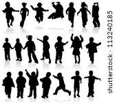 silhouette girls and boys ... | Shutterstock . vector #113240185