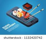 sushi order. online or... | Shutterstock .eps vector #1132420742