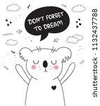 vector cartoon poster with cute ... | Shutterstock .eps vector #1132437788