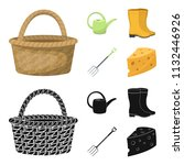 basket wicker  watering can for ... | Shutterstock .eps vector #1132446926