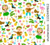 seamless pattern with kids in... | Shutterstock .eps vector #1132449812