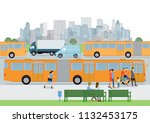 bus stop with bus and passengers | Shutterstock .eps vector #1132453175