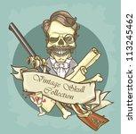 gentleman's skull logo design   ... | Shutterstock .eps vector #113245462