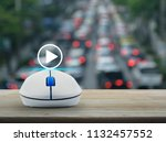 play button with wireless... | Shutterstock . vector #1132457552