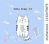 cute vector cartoon kawaii cat... | Shutterstock .eps vector #1132470875