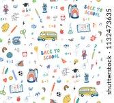back to school seamless doodle... | Shutterstock . vector #1132473635