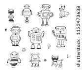 funny doodle robots vector... | Shutterstock .eps vector #1132473638