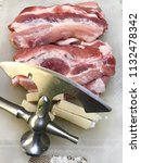 pork meat and bacon | Shutterstock . vector #1132478342