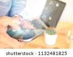 young man using smartphone... | Shutterstock . vector #1132481825