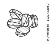 hand drawn pistachios set. open ... | Shutterstock .eps vector #1132483052