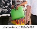milan   june 17  woman with...   Shutterstock . vector #1132486505