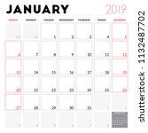 calendar planner for january... | Shutterstock .eps vector #1132487702