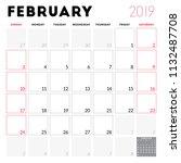 calendar planner for february... | Shutterstock .eps vector #1132487708