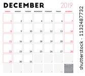 calendar planner for december... | Shutterstock .eps vector #1132487732
