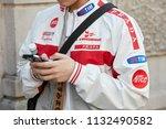 milan   june 17  man with prada ... | Shutterstock . vector #1132490582