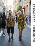 milan   june 16  man and woman... | Shutterstock . vector #1132490615