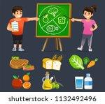 people learning easy eating... | Shutterstock .eps vector #1132492496