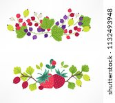 fruit and berry compositions... | Shutterstock .eps vector #1132493948