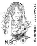 beautiful girl with headphones | Shutterstock .eps vector #1132499258