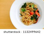 Small photo of top view spaghetti spicy drunken, spicy stir fried noodle
