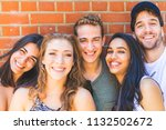 multiracial group of friends... | Shutterstock . vector #1132502672