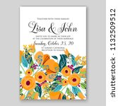 wedding invitation card flower... | Shutterstock .eps vector #1132509512