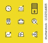 economy icons set with graph ...