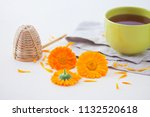 marigold or calendula herbal... | Shutterstock . vector #1132520618