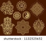 big set of mehndi flower... | Shutterstock .eps vector #1132525652