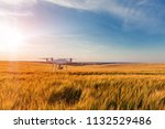 drone quad copter on green corn ... | Shutterstock . vector #1132529486