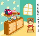 illustration of girl study room | Shutterstock .eps vector #113253118