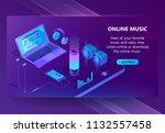 online music vector isometric... | Shutterstock .eps vector #1132557458