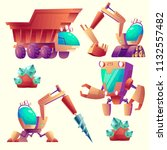 vector cartoon set of mining... | Shutterstock .eps vector #1132557482