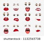 comic emotions. women facial...   Shutterstock .eps vector #1132565738