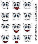cartoon faces expression line... | Shutterstock . vector #1132573325