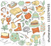 set of doodles on the theme of... | Shutterstock .eps vector #1132579955