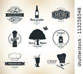 label set for restaurant and... | Shutterstock .eps vector #113258548
