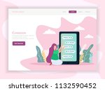 virtual dating landing page for ...   Shutterstock .eps vector #1132590452
