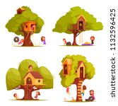 tree houses with children... | Shutterstock .eps vector #1132596425