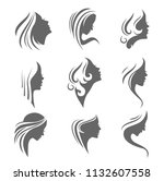 silhouettes of a girl in... | Shutterstock .eps vector #1132607558