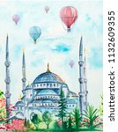 istanbul and air balloons... | Shutterstock . vector #1132609355