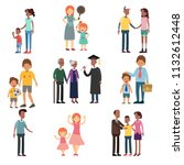 crowd of tiny people walking... | Shutterstock .eps vector #1132612448