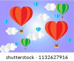 colorful hot air balloons shape ... | Shutterstock .eps vector #1132627916