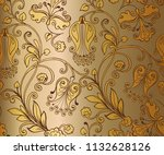 seamless pattern with fantastic ...   Shutterstock . vector #1132628126