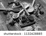 wood spoons with pepper balls ...   Shutterstock . vector #1132628885