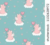 seamless pattern with cute... | Shutterstock .eps vector #1132628972