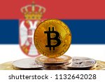 bitcoin btc on stack of... | Shutterstock . vector #1132642028