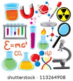 set of science stuff icon | Shutterstock .eps vector #113264908